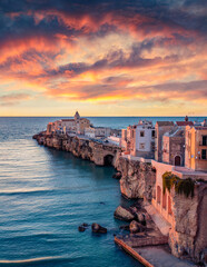 Stunning morning cityscape of Vieste - coastal town in Gargano National Park, Italy, Europe....