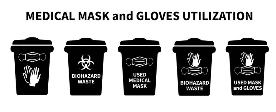 Mask utilization. Medical mask dispose. How to recycle old protective medical mask right. Biohazard infectious waste. Trash bin icon. Throwing face mask into rubbish. Covid waste. Vector illustration.