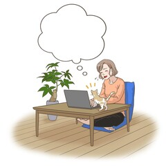 A remote working mother with some interruptions by her cat, thinking something