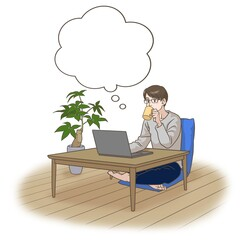 A man working remotely with a cup of coffee, thinking something