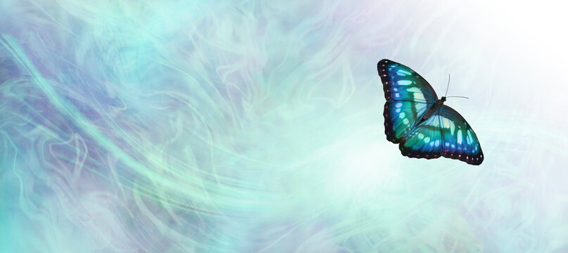 Jade Butterfly Message Background Banner - beautiful blue green jade coloured butterfly against a pale blue green gaseous wispy energy background with white light and copy space