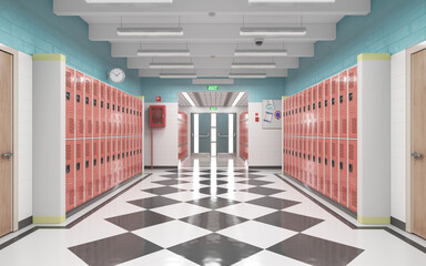 Long school corridor with red lockers , 3d illustration