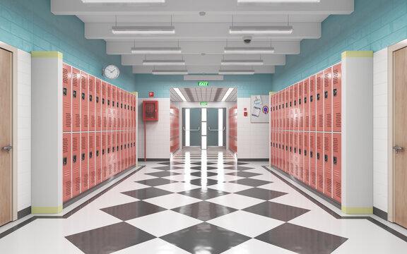 Long school corridor with red lockers , 3d illustration