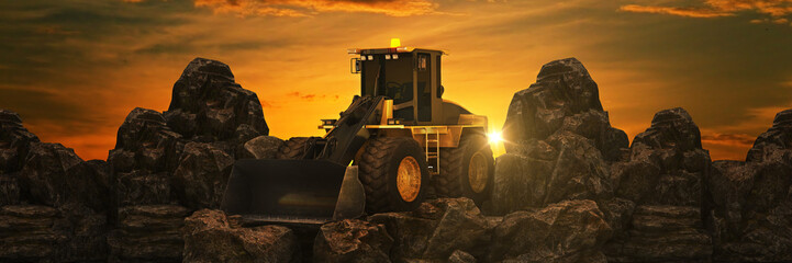 Vehicle construction at sunset. 3d rendering
