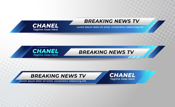 Set Of Broadcast News Lower Thirds Banner Template for Television, Media Channel, Video. Vector Illustration