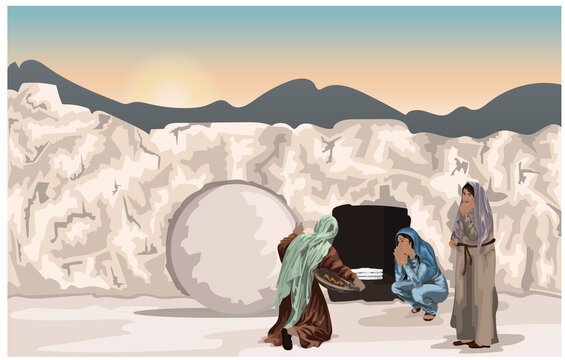 Easter Story - Mary Magdalene and Other Women At Jesus' Tomb with Rolled Away Stone and Folded Grave Clothes