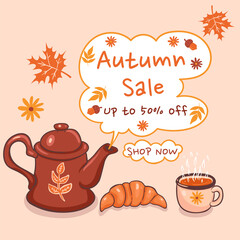 Autumn Sale. Teapot and cup. Vector graphics. Vector graphics.