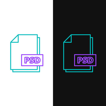Line PSD file document. Download psd button icon isolated on white and black background. PSD file symbol. Colorful outline concept. Vector.
