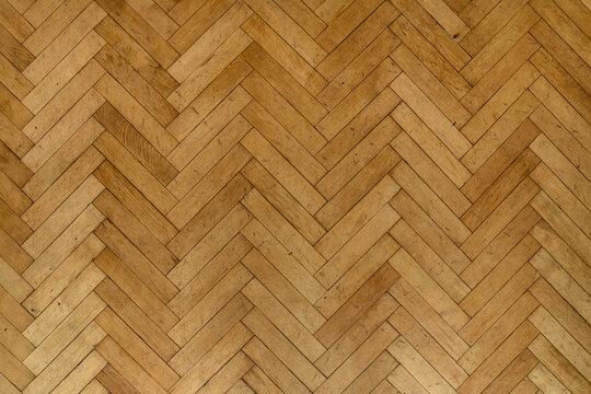 Old wooden parquet floor planks