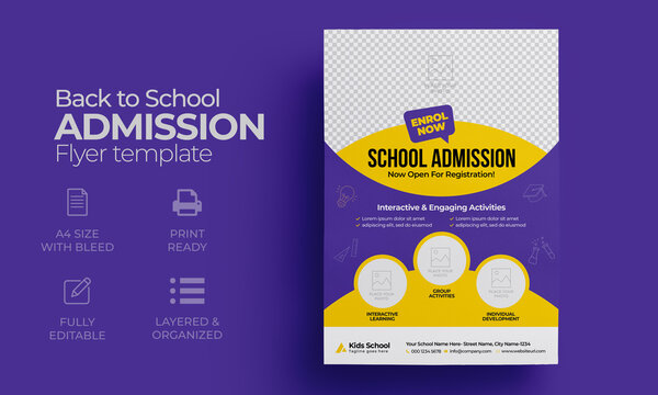 Kids back to school education admission flyer poster layout template