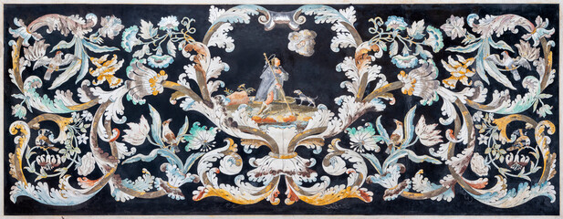 RAVENNA, ITALY - JANUARY 29, 2020: The floral baroque stone mosaic (Pietra dura) in church Chiesa di Santa Maria in Porto.