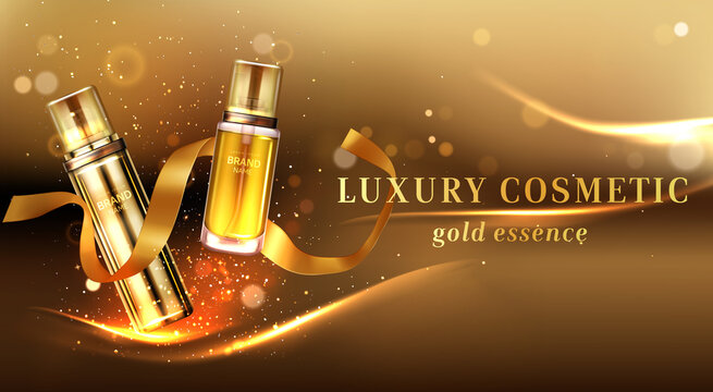 Luxury cosmetic products with golden glitter and ribbon. Vector realistic brand poster with skincare gel, cream, perfume or makeup cosmetics in glass bottles. Promo banner, advertising background