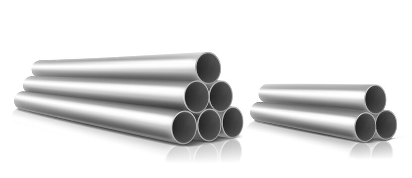 Stack of steel pipes isolated on white background. Vector realistic set of straight metal or pvc plumbing cylinders. Industrial pieces of pipelines for conduit, factory or construction