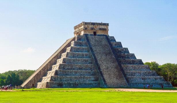 Chichen Itza, Yucatan / Mexico - August 2018: El Castillo or the Temple of Kukulcan in Chichen Itza archaeological site, Yucatan, Mexico