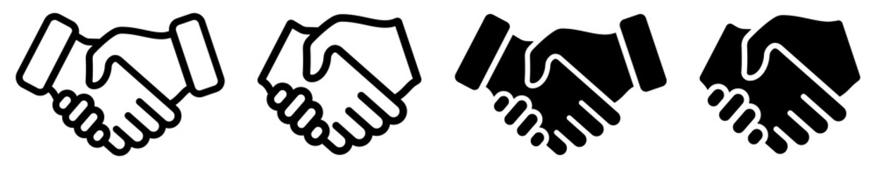 Handshake icon isolated on white background. Handshake symbol set. Vector