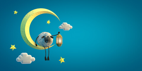 3d illustration cute cartoon sheep with lamp on the moon on blue background. Islamic holiday concept.