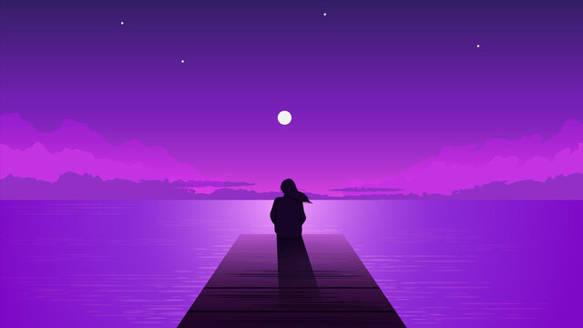 Night silhouette lonely girl with rising moon. Alone dreamy woman looking at purple sky with moon among clouds on sea pier illustration vector person loneliness pensive depression.