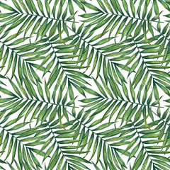 Palm leaves watercolor seamless pattern. Hand painted background. For wrapping paper, textiles, wallpaper and fabric pattern.