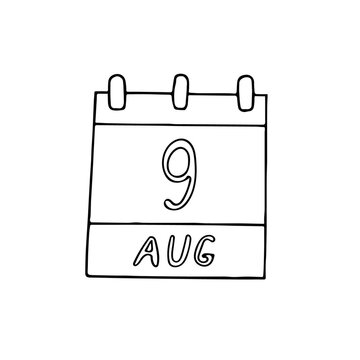 calendar hand drawn in doodle style. August 9. Book Lovers Day, International of the World Indigenous People, Smokey Bear, date. icon, sticker, element, design. planning, business holiday