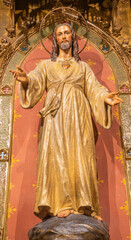 BARCELONA, SPAIN - MARCH 3, 2020: The carved polychrome statue of Heart of Jesus in the chruch Iglesia Sant Ramon De Penyafort.