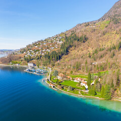 Travel in Switzerland. Town  Weggis. Lake Lucerne. Mount Rigi