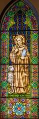 BARCELONA, SPAIN - MARCH 3, 2020: The Saint Bernard of Menthon on the windowpane in the church Parroquia de la Mare de Deu de Nuria.