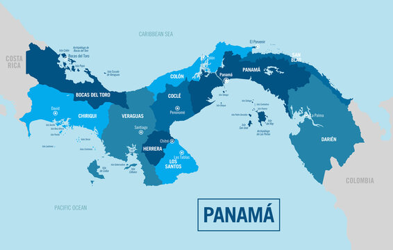 Panama country political map. Detailed vector illustration with isolated provinces, departments, regions, cities and states easy to ungroup.