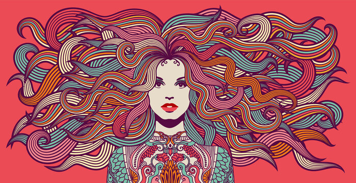 Hippie woman with colorful hair and attire, 1960's, 1970's style illustration. Eps10 vector.