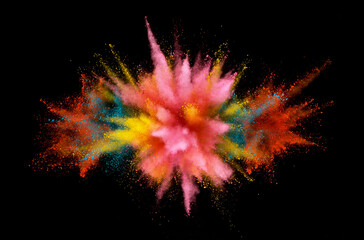 Fototapete - Abstract coloured powder explosion on black