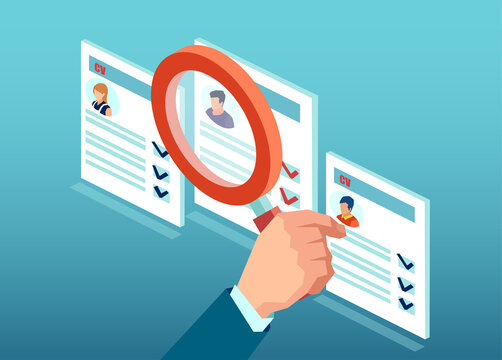 Vector of a businessman with magnifying glass reviewing applicant CV