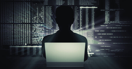 Fototapeta Silhouette of a man working on laptop against a digital code background
