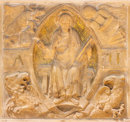 BARCELONA, SPAIN - MARCH 3, 2020: The stone relief of Jesus Christ among the four evangelists symbols in the chruch Santuari de la Mare de Deu del Carme (carmelites).