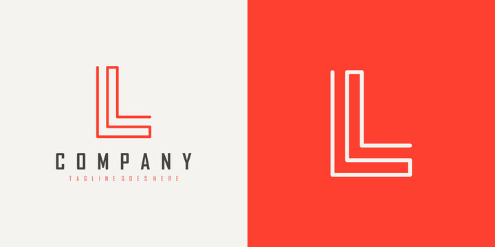 Simple Initial Letter L Logo. Monogram Linear Style isolated on White and Red Background. Usable for Business and Branding Logos. Flat Vector Logo Design Template Element.