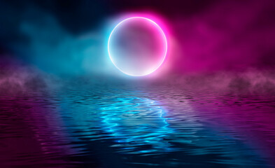 Fotomurales - Dramatic dark background. Reflection of light on the water. Smoke fog. Light neon effect, energy waves on a dark abstract background. Laser neon show. Smoke, fog. 3d illustration