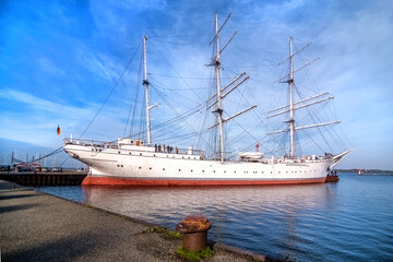 Stralsund, Germany,10/09/2018: View of vintage Gorch Fock I. It is a three-mast barque, the first of a series built 1933 as school ships for the German Reichsmarine.