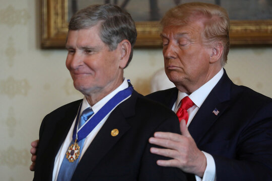 U.S. President Donald Trump awards the Presidential Medal of Freedom to three-time Olympian runner and former U.S. Rep. Jim Ryun (R-KS) in Washington, US
