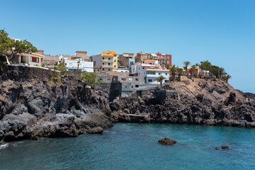 Views of the picturesque Alcala village, part of Guya de Isora municipality, with traditional architecture, a small tranquil cove and surrounded by banana plantations, Tenerife, Canary Islands, Spain