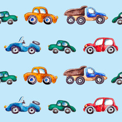 watercolor illustration. seamless pattern of city cars in cartoon style.pattern for children's textiles on a blue background.