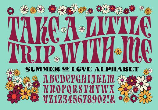Psychedelic 1960s Style Hippie Alphabet