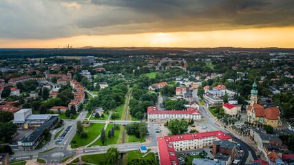 Obraz Miasto Tychy - Panorama lotnicza- widok na rynek - fototapety do salonu