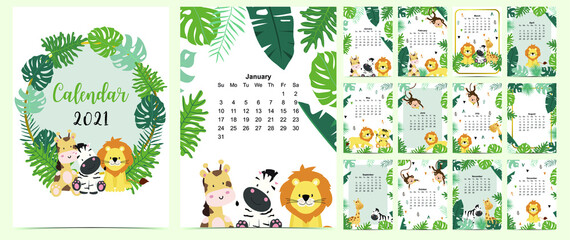 colorful calendar 2021 with cute animals