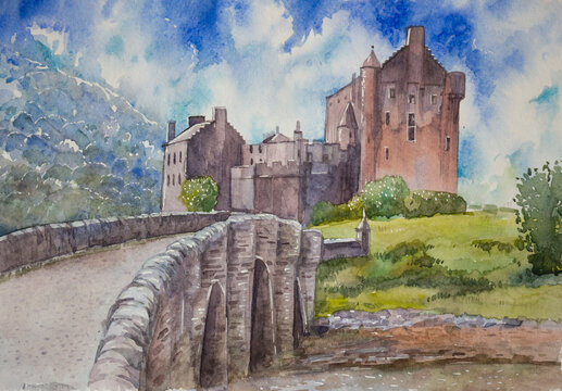 Drawing of the ancient medieval Eilean Donan castle and the old bridge in Scotland. Watercolor drawing for design of souvenirs.