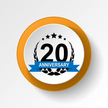 Anniversary, 20 years multicolored icon button. Can be used for web, logo, mobile app, UI, UX