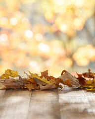 Wood Tabletop Mockup of Fall Background