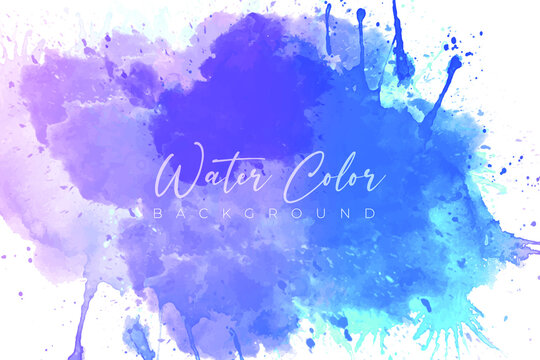 Abstract watercolor vector banner background, blue-purple color watercolor vector splash background eps file, cloudy effect watercolor banner, modern watercolor splash template,
