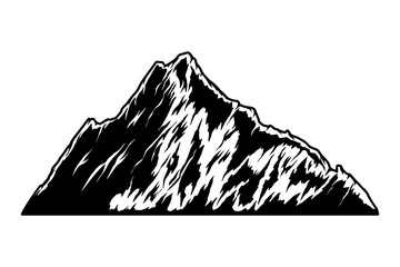 Illustration of mountain in engraving style. Design element for logo, emblem, sign, poster, card, banner.
