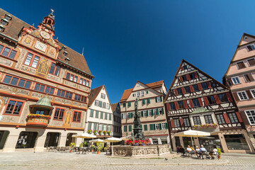 Historic buildings and town hall on the market square of the Southern German city of Tübingen