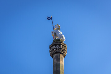 Sculpture of unicorn on Mercat Cross located on Parliament Square in the Old Town of Edinburgh city, Scotland, UK