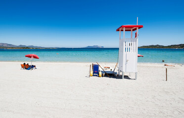 View of a lifeguard station, in a Murta Maria  beach. Located Olbia, Sardinia