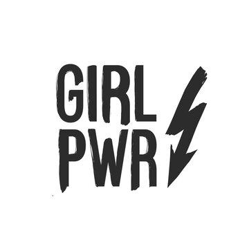 Lightning arrow and girl power. Feminist black elements on white background. Woman feminism textile t-shirt design. Female hand drawn brush graphic. Vector illustration. Girl power concept.
